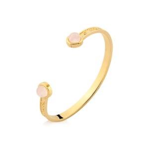 Pulseira bracelete redondo Quartzo Rosa