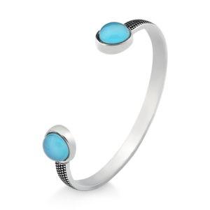Pulseira bracelete prata envelhecida redondo Ágata Azul Céu