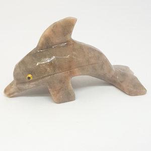 Escultura golfinho miniatura Pedra Jaspe
