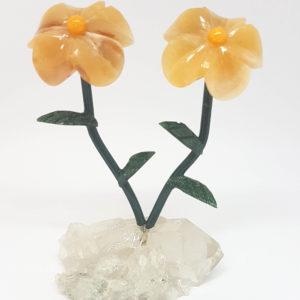 Flor dupla pequena Calcita Laranja