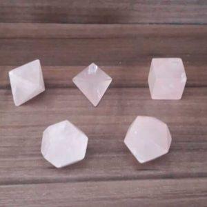 Kit sólidos platônicos Quartzo Rosa