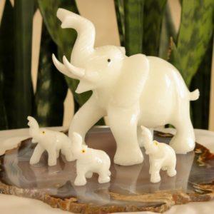 Kit – 4 Elefantes Quartzo Branco + Chapa de Ágata