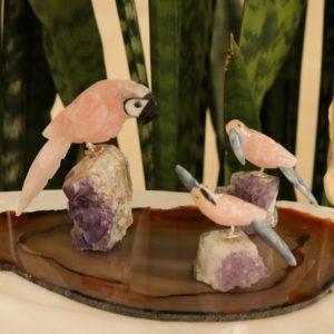 Kit – 3 Pássaros Quartzo Rosa + Chapa de Ágata