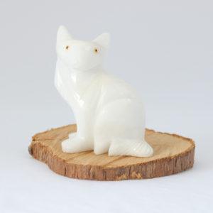 Escultura gato Quartzo Branco