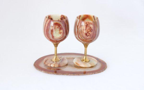 Conjunto taças para vinho Ônix Paquistanês + Chapa de Ágata Modelo 2 3